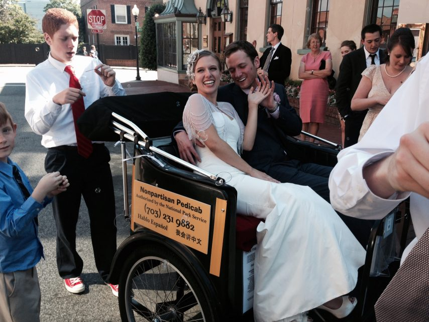 Pedicab wedding photo