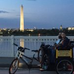 Evening tour with a view of the Tidal Basin and the Washington Monument.  Even i