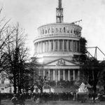 The Inauguration of Abraham Lincoln, March 4, 1861 at the unfinished Capitol, Wa...