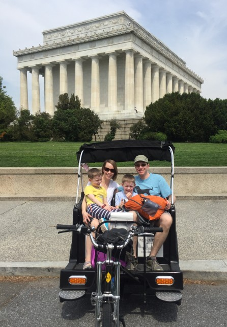 Family on tour at Lincoln Memorial